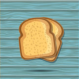 Vector toast isolated on blue wood board. bread illustration. Realistic slice. breakfast concept. icon. Stock Image