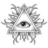 Vector todo el símbolo de la pirámide del ojo que ve en diseño del grabado del tatuaje Imágenes de archivo libres de regalías