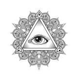Vector todo el símbolo de la pirámide del ojo que ve Tatuaje Design Vintage Han Imagen de archivo libre de regalías
