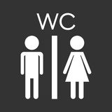 Vector toilet, restroom icon on black background. Royalty Free Stock Photo