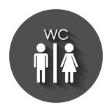 Vector toilet, restroom icon. Modern man and woman flat pictogram. Simple flat symbol with long shadow Stock Photography