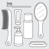 Vector of toiletry set, personal care product Stock Image