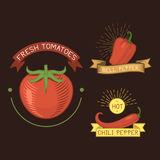 Vector tomato vegetable label template icon. Royalty Free Stock Image