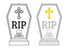Vector tombstone. In colour and outline stock illustration