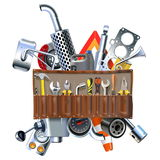 Vector Tool Kit with Car Spares Royalty Free Stock Images