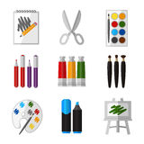 Vector tool set for artist in flat design style Stock Photo