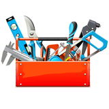 Vector Toolbox with Hand Tools. Isolated on white background vector illustration
