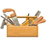 Vector Toolbox with Retro Instruments. Isolated on white background Royalty Free Stock Photo