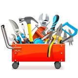 Vector Toolbox Trolley with Tools. Isolated on white background Stock Image
