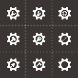 Vector tools in gear icon set Royalty Free Stock Photo