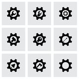 Vector tools in gear icon set. On grey background Royalty Free Stock Photos