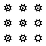 Vector tools in gear icon set Royalty Free Stock Image