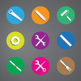 Vector tools icon colorful set on gray background. Vector tools icon colorful set on gray Stock Photos