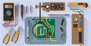 Vector tools set for soldering chips, flat design Royalty Free Stock Images