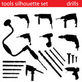 Vector tools silhouette set. Set of tools silhouette vector Royalty Free Stock Photo