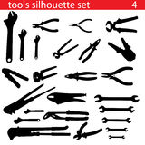 Vector tools silhouette set. Set of tools silhouette vector Royalty Free Stock Photography