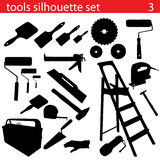 Vector tools silhouette set. Set of tools silhouette vector Stock Photos