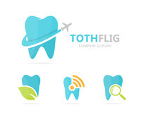 Vector of tooth and airplane logo combination. Dental and travel symbol or icon. Unique clinic and flight logotype Royalty Free Stock Images
