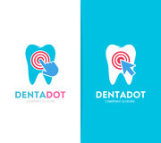Vector tooth and click logo combination. Dental clinic and cursor symbol or icon. Unique dent and medical logotype. Vector logo or icon design element for Stock Photo