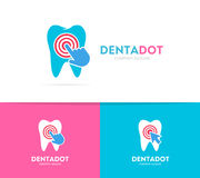 Vector tooth and click logo combination. Dental clinic and cursor symbol or icon. Unique dent and medical logotype. Vector logo or icon design element for Royalty Free Stock Photography