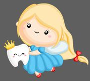 Cute tooth fairy. A vector of a tooth fairy holding a tooth stock illustration