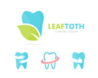 Vector of tooth and leaf logo combination. Dental and eco symbol or icon. Unique clinic and organic logotype design. Vector logo or icon design element for Stock Image