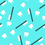 Vector Toothbrush and Teeth Seamless Texture with Shadows Stock Photography