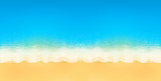 Vector top view of calm ocean beach with blue waves, yellow sand, and white foam. Horizontal image Stock Photography