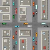 Vector top view city with office buildings rooftops, cars on the roads illustration vector illustration