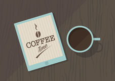 Vector top view of coffee cup, and tablet pc Royalty Free Stock Photography