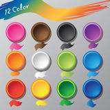 Vector top view of 12 colors. Background concept Stock Image