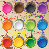 Vector top view of 12 colors. Background concept Royalty Free Stock Photos