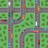 Vector top view highways with cars and with trees in between top view illustration Stock Photos