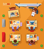 Vector top view school concept illustration in flat style. Stock Photo