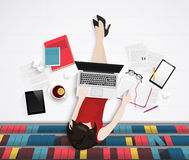 Vector top view of young woman sitting on floor with elements worlplace. Library office. S vector illustration