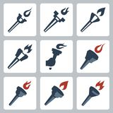 Vector torches icons set Stock Photography