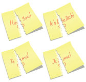 Vector torn paper notes with I love you words. Vector illustration of torn paper notes with I love you words Stock Photo