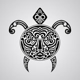 Vector tortoise with tiger face on its shell. Tattoo sketch, Polynesian tattoo style Stock Photo
