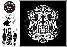Vector totem mask isolated. Vintage Label in the form of a totem mask for the bowling club. Royalty Free Stock Images