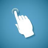 Vector Touch Screen Konzept mit menschlicher Palme und dem Zeigefinger, die virtuellen Knopf zeigt oder drückt Lizenzfreies Stockfoto