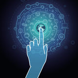 Vector touchscreen concept. Hand touching internet sign with social media icons Royalty Free Stock Photography