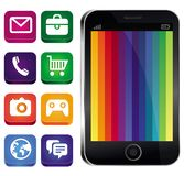 Vector touchscreen phone with rainbow wallpaper. And app icons Stock Images