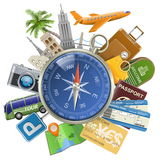 Vector Tourism Concept with Compass Royalty Free Stock Image