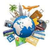 Vector Tourism Concept with Globe Royalty Free Stock Images
