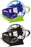 Vector tourist bus logo. Available CorelDraw 9 vector format separated by groups and layers for easy edit Stock Image