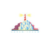 Vector touristic emblem with lighthouse on the island Royalty Free Stock Photos