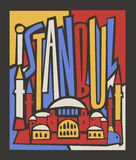 Vector touristic hand drawn istanbul city poster stock illustration
