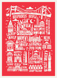 Vector touristic hand drawn istanbul city poster Royalty Free Stock Image