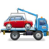 Vector Tow Truck with Automobile Royalty Free Stock Images