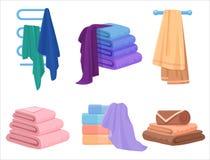 Vector Towels set. Cloth towel for bath. Cartoon Vector illustration. Royalty Free Stock Images